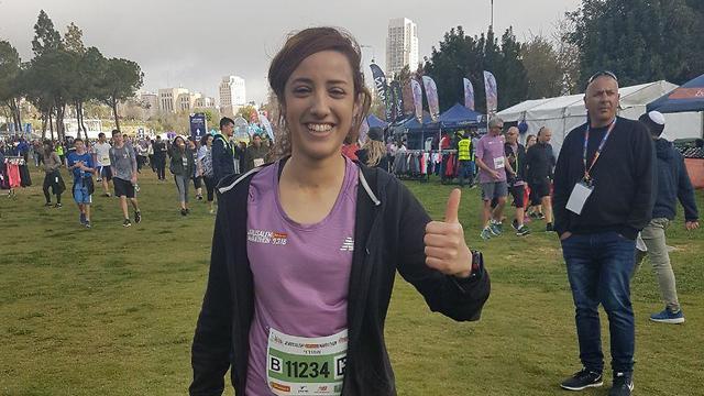 Liraz Hassan of Bnei Brak ran in the Jerusalem Marathon after completing the Tel Aviv Marathon (Photo: Adi Rozenberg)