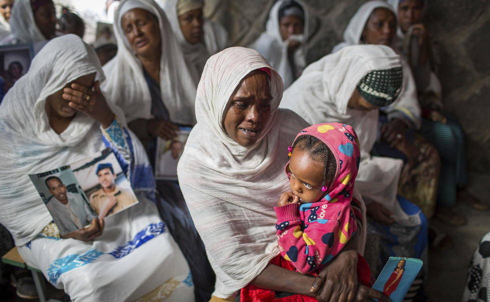 Members of Ethiopia's Jewish community attend a solidarity event for their relatives in Israel, at the synagogue in Addis Ababa (Photo: AP)