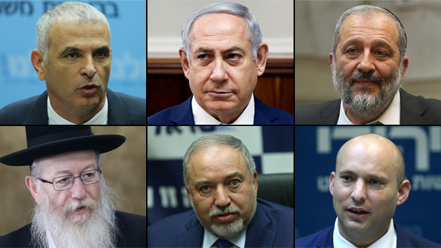 Top L-R: Moshe Kahlon, PM Netanyahu and Aryeh Deri. Bottom L-R: Yaakov Litzman, Avigdor Lieberman and Naftali Bennett (Photo: Ohad Zwigenberg, Alex Kolomoisky and Reuters)