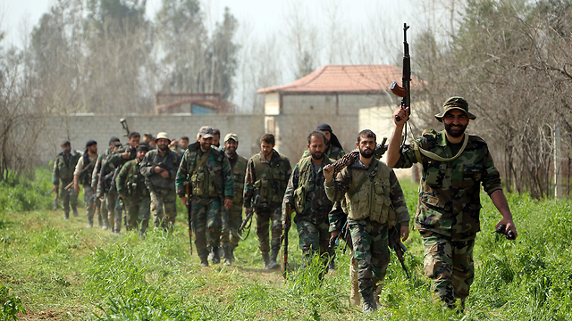 Hezbollah forces in Damascus suburbs, Saturday  (Photo: AFP)