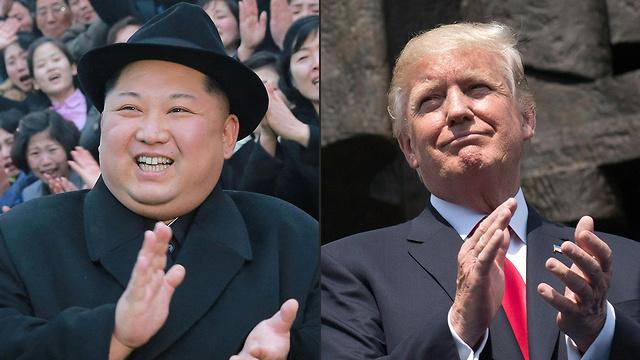 שוקל צמצום הכוחות, אולי כקלף מיקוח מול הצפון. טראמפ וקים (צילום: AFP) (צילום: AFP)