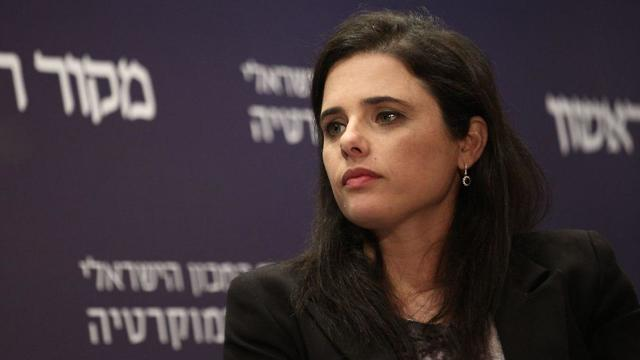 Minister Shaked. 'Everyone is right and everyone has to compromise'  (Photo: Hillel Meir/TPS)