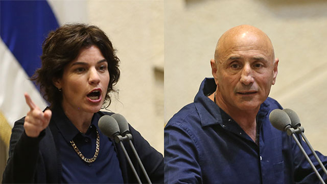 MK Tamar Zandberg and MK Ofer Shelah (Photos: Alex Kolomoisky)