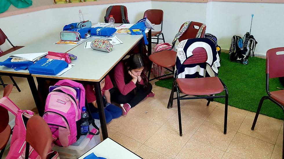 מתרגלים בבית ספר בשדרות (צילום: רועי עידן)