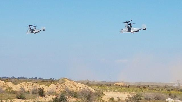 3 V-22 planes participated in the drill (Photo: Yoav Zitun)