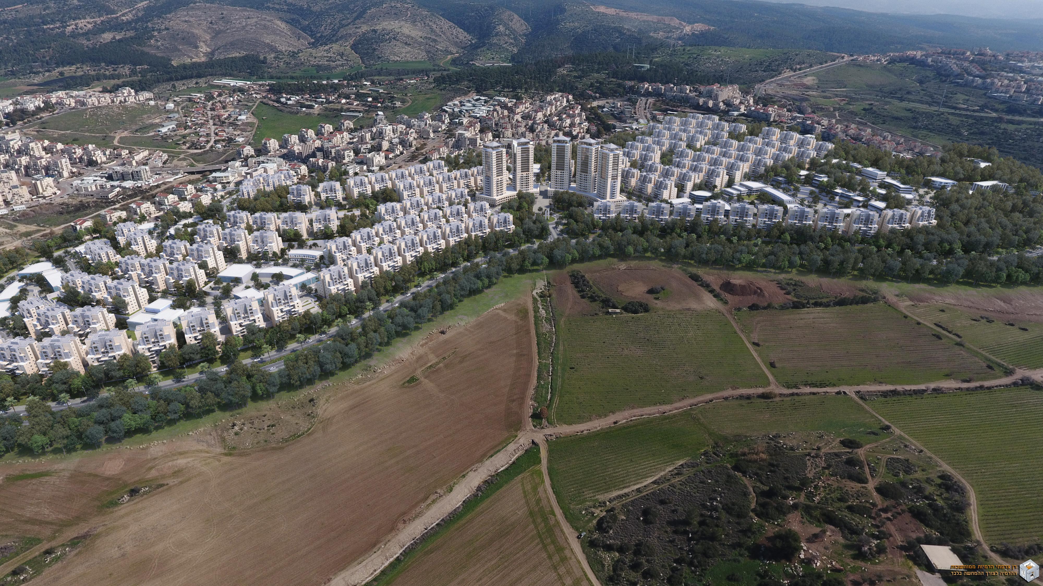 הדמיה של השכונה החדשה בבית שמש (משרד איל איצקין אדריכלים) (משרד איל איצקין אדריכלים)
