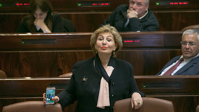 Minister Landver was allowed to vote against the bill in its preliminary reading, as she threatened to do (Photo: Ohad Zwigenberg)