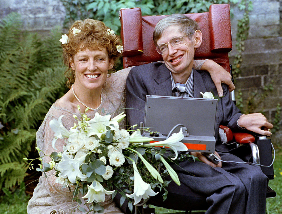 הוקינג בחתונה עם אשתו השנייה (צילום: רויטרס) (צילום: רויטרס)