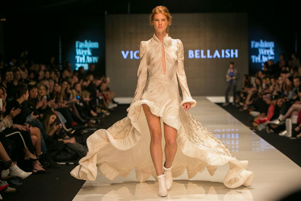 יובל שרף סוגרת את תצוגת האופנה של ויוי בלאיש (צילום: ענבל מרמרי)