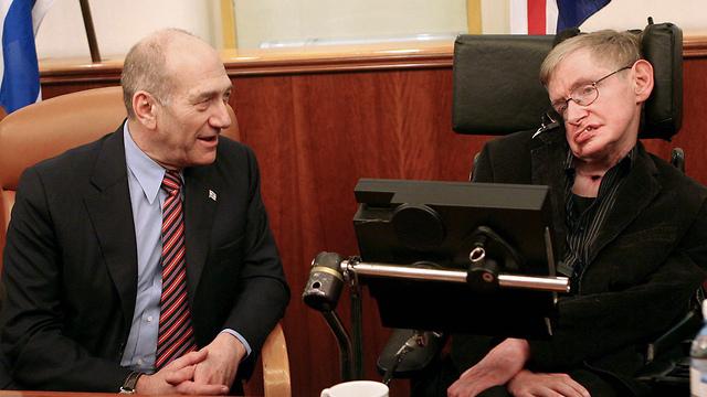 פרופ' הוקינג ואולמרט ב-2006 (צילום: אלכס קולומויסקי) (צילום: אלכס קולומויסקי)