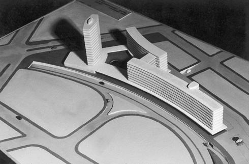 הצעתו לתכנון מחדש של החניון ברחוב הרכבת בת''א. פרויקט שלא מפסיק לצוץ בבתי הספר לאדריכלות גם היום (צילום: צלם לא ידוע)