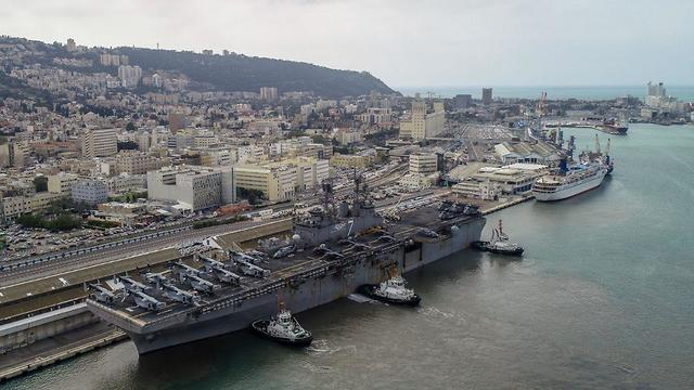 USS Iwo Jima at Port of Haifa (Photo: Erez Simon/GeoDrones)
