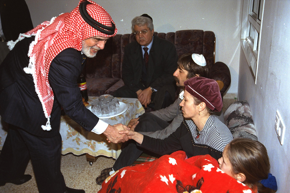 King Hussein of Jordan pays a condolence visit to the family of one of the victims of the terror attack at the Island of Peace (Photo: Avi Ohayon/GPO)