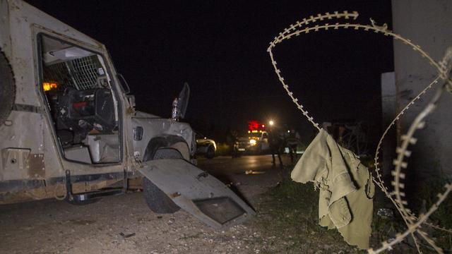 זירת פיגוע הדריסה בשומרון (צילום: עידו ארז)