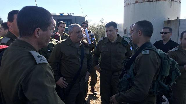 IDF Chief of Staff Eisenkot conducts situation assessment at scene of the attack (Photo: IDF Spokesman's Office)