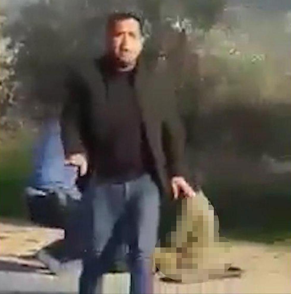 פלסטינים מציעים עזרה לחיילים הפצועים שניות לאחר פיגוע הדריסה ()