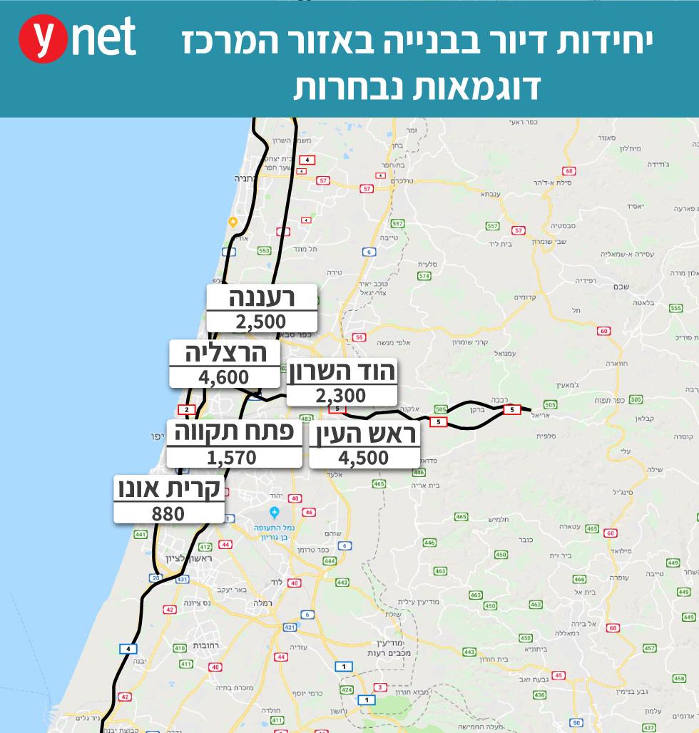 מפה של יחידות דיור בבנייה אזור מרכז  ()