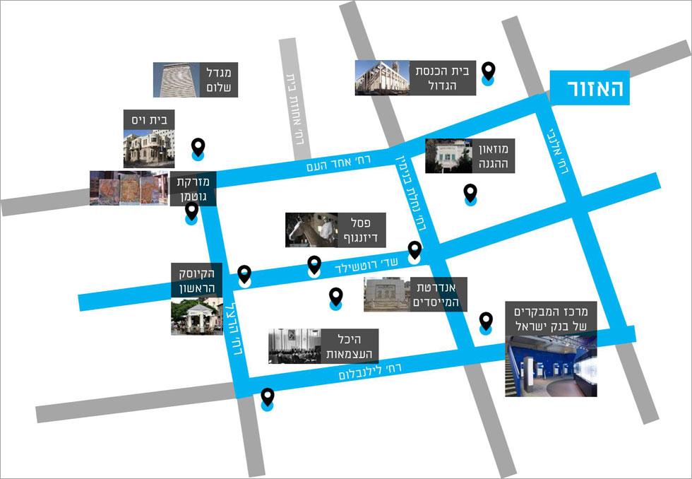 מפת האתרים שנכללים בשביל העצמאות (מפה: באדיבות עיריית תל אביב-יפו)