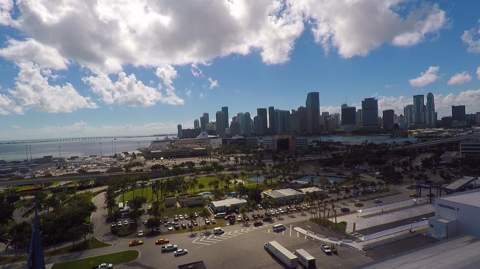 קו הרקיע של מיאמי מתוך האונייה (צילום: אסף קוזין)