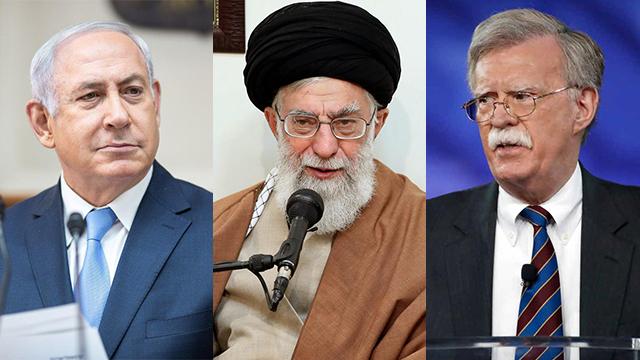 From left to right: Benjamin Netanyahu, Ali Khamenei and John Bolton  (Photos: AP, AFP)
