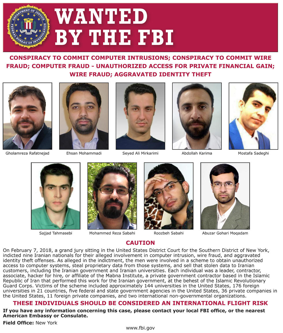 FBI wanted posters for 9 Iranians that took part in a government-sponsored hacking scheme (Photo: AP)
