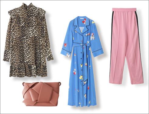 מכנסיים של גאני, 749 שקל; שמלת חלוק של גאני, 2,500 שקל; חולצה מנומרת של גאני, 1,950 שקל; תיק של אקנה, 3,900 שקל