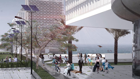 במקום חניונים שתקועים בין המלונות - מעבר רציף וחלק (הדמיה: באדיבות מרכז רכטר לאדריכלות)