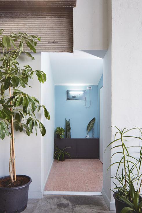 הכניסה לשירותים. אריחים תכולים וקירות שנצבעו בגוון זהה (צילום: מתן כץ)