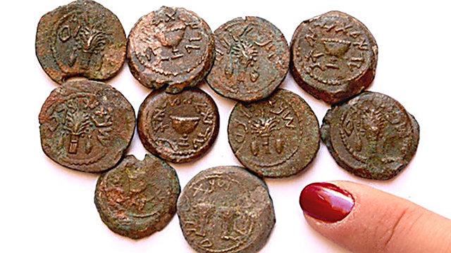 המטבעות שנמצאו (צילום: אילת מזר)