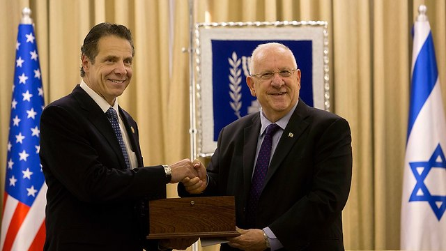 Cuomo with President Reuven Rivlin during a visit to Israel in 2014 (Photo: AP)