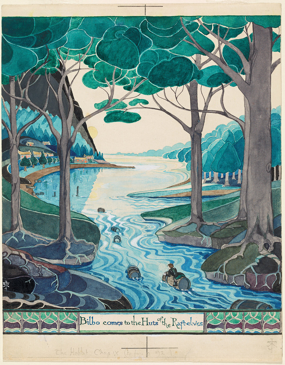 Bilbo comes to the huts of the Raft-elves (The Tolkien Estate Limited 1937)