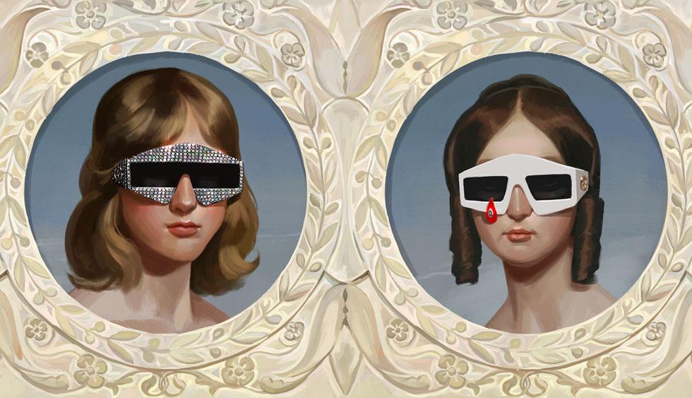הקמפיין היפה ביותר: דוגמניות מצוירות בסגנונות עבר עם משקפי שמש עתידניים. גוצ'י