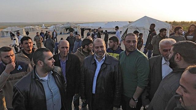Deputy Hamas leader in Gaza, Khalil al-Hayya, visits tent encampments (Photo: EPA)
