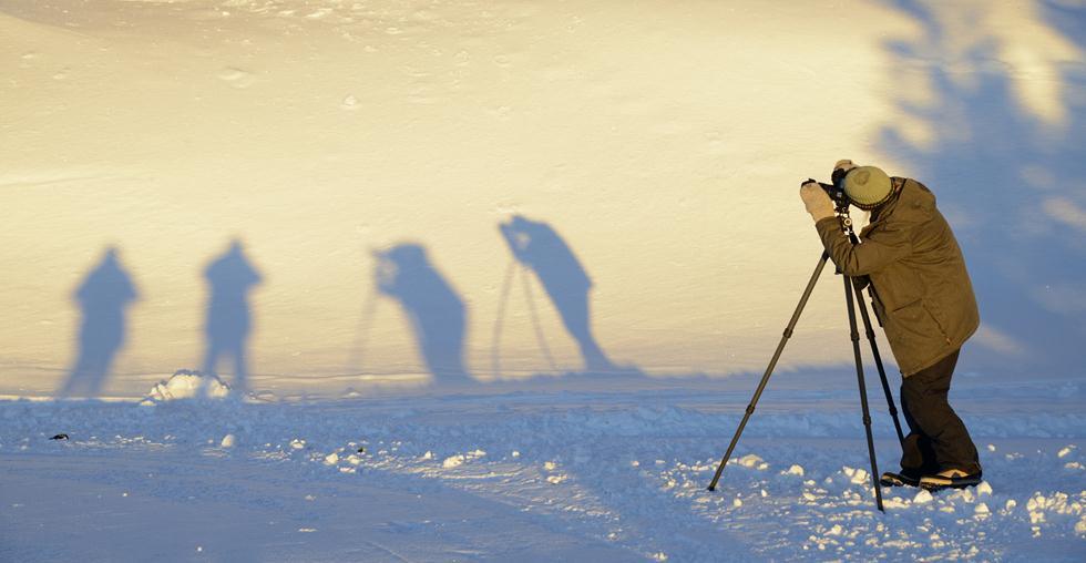 המדריכה סינדי וצל הצלמים בשלג ביילוסטון (צילום: מיכה אורבך)