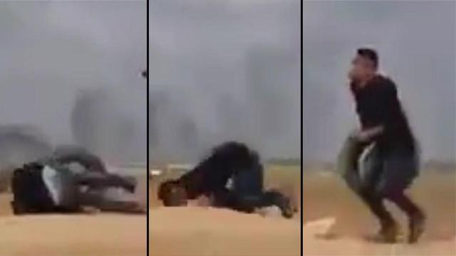 תיעוד פגיעה ב מפגין פלסטיני ()