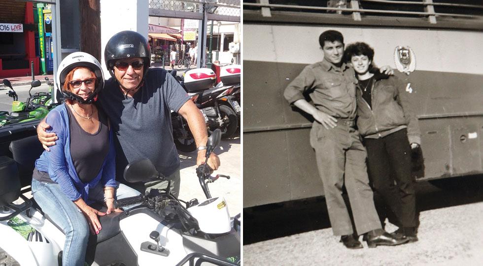 """מימין: חנה שאולוב ועדי בכר בצעירותם. משמאל: כיום. """"אנחנו בני 72, וזה לא שונה מהזוגיות שהייתה לנו בגיל 14. לחברות אמת אין גיל"""" (צילום: אלבום פרטי)"""