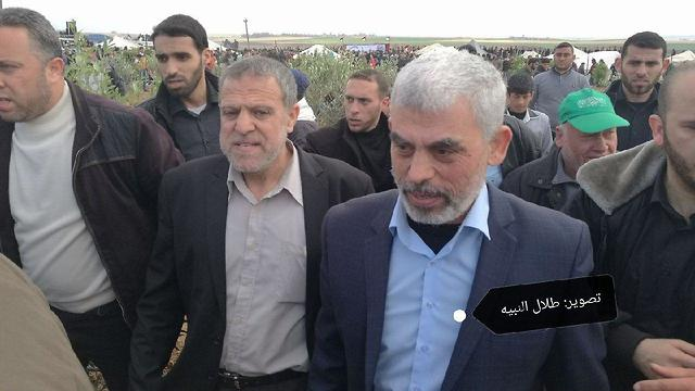 Hamas leader in Gaza Sinwar (R) said, 'If the strip blows up, the blast will be in Israel's face'