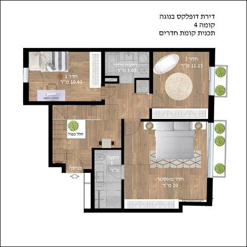 תוכנית הקומה התחתונה, שבה החלק הפרטי של הדירה (תוכנית: הלל אדריכלות)