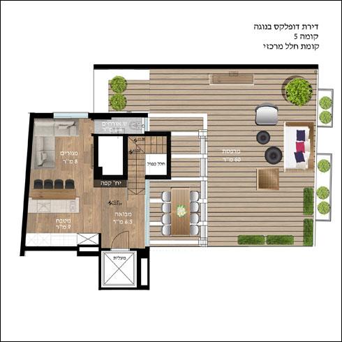 תוכנית קומת הגג, שבה החלק הציבורי של הדירה (תוכנית: הלל אדריכלות)
