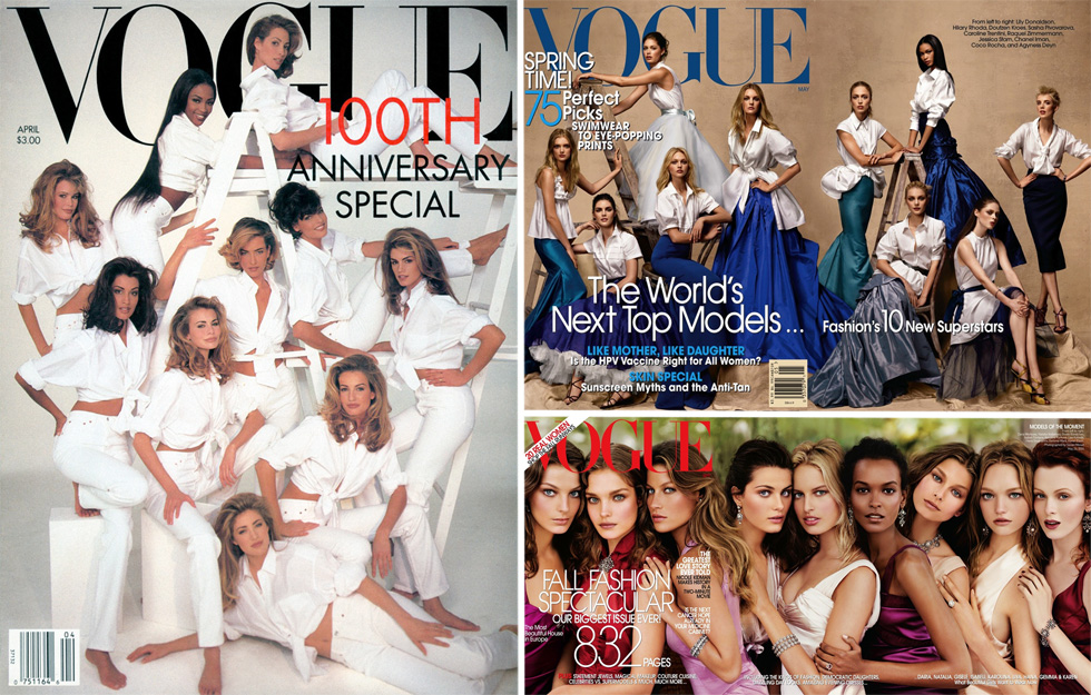 מאז 1992 ולאורך השנים, הציג המגזין שלל שערים קבוצתיים אשר סימנו את הדוגמניות החזקות והמשפיעות באופנה, בצילומים שמאפשרים להתבונן בתמורות שחלו במודל היופי עם השנים, או במקרה הזה, בחוסר השינויים