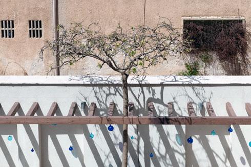 החומה המפרידה בין הבית לבית הספר הסמוך. אילוץ  (צילום: גדעון לוין)