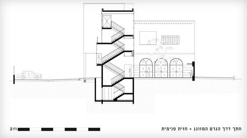 גרם המדרגות המרחפות, מבט אל החזית הפנימית  (חתך: קימל אשכולות אדריכלים)