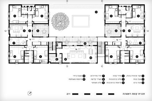 שני אגפי השינה, וביניהם הסלון המשותף והמטבח הפרטי  (תוכנית: קימל אשכולות אדריכלים)