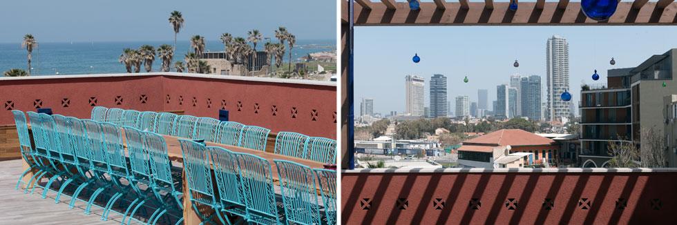 מהגג נשקפים הים ומגדלי תל אביב. מדי יום שישי מתקיימת עליו ארוחה משותפת לדיירים ולאורחים  (צילום: גדעון לוין)
