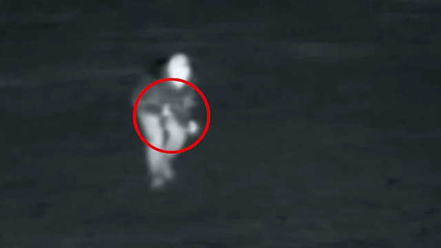 The terrorist's infiltration as captured by IDF cameras (Photo: IDF Spokesperson's Unit)
