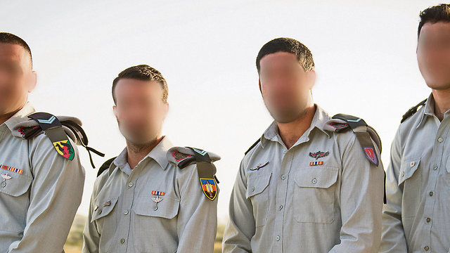 The 4 officers receiving the chief of staff's citation for their covert work on locating and destroying terror tunnels (Photo: IDF Spokesperson's Unit)