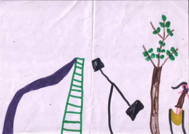 כך נראית חרדה חברתית בציור של ילדה: צביעה צפופה וריק בגן הילדים