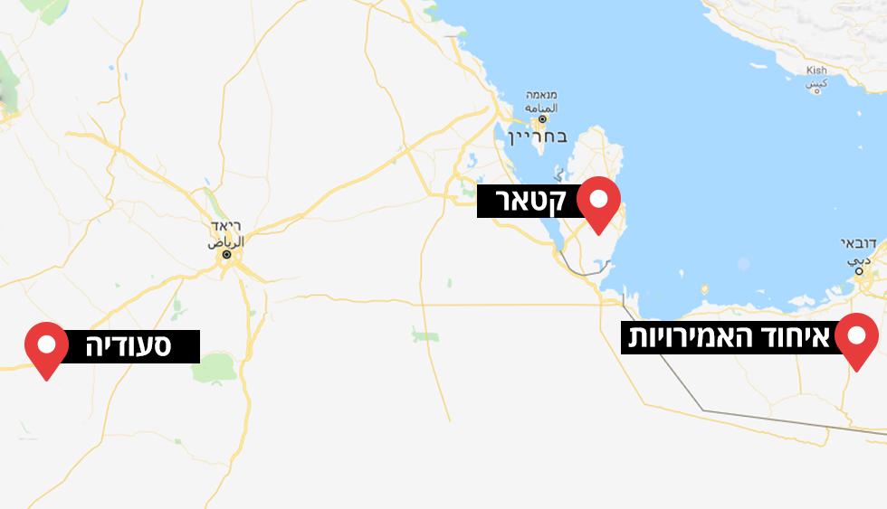מפה של גבול קטאר סעודיה ו איחוד האמירויות ()