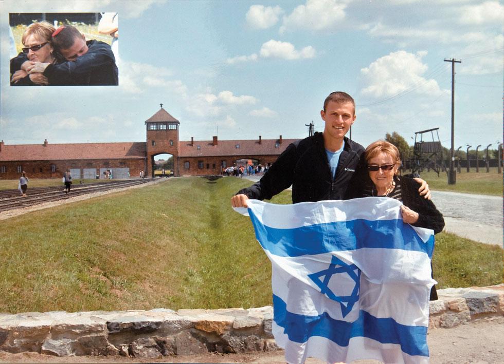 """עם הנכד דויד בביקור באושוויץ. """"המשימה שלי היא לגרום לצעירים להרגיש שהם לא רק חלק מארץ ישראל, אלא חלק מעם ישראל לדורותיו"""" (צילום: אלבום פרטי)"""