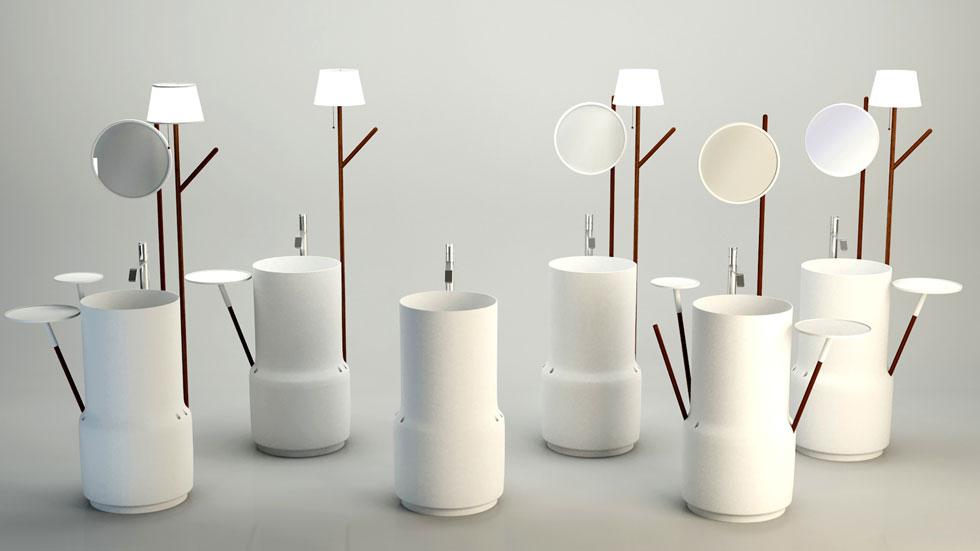 כיורי רחצה משולבים עם מראה ומנורה, של סטודיו Diciannove Dieci ב''סופרסטודיו''. מטבחים וחדרי רחצה הם גם הפוקוס של תערוכת הרהיטים במרכז הירידים השנה (צילום: באדיבות SUPERSTUDIO)